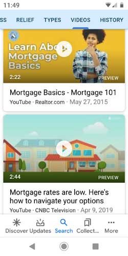 Screenshot of Google's mortgage videos
