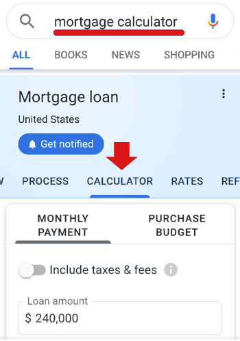 Screenshot of Google's new mortgage calculator