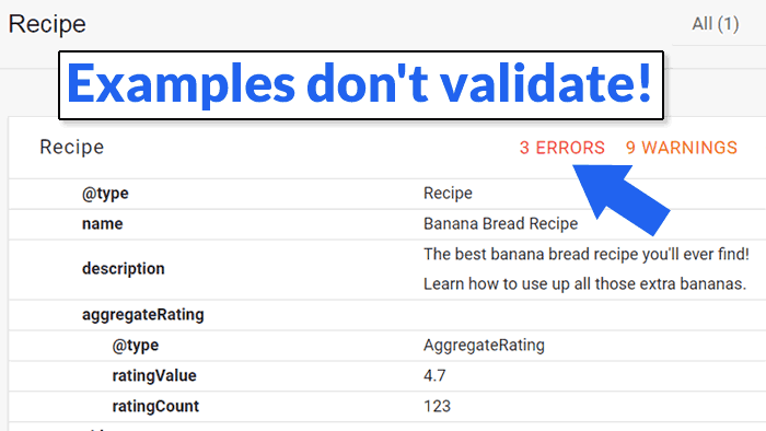 Screenshot of Google's structured data validator