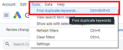 Find duplicate keywords