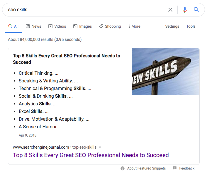 SEO skills Google featured snippet