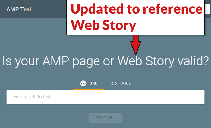 Screenshot of newly updated AMP and Web Story validation tool