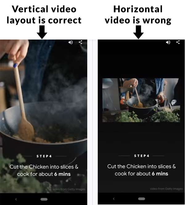 Screenshot of two videos, one correctly in portrait mode and one incorrectly displaying in horizontal mode