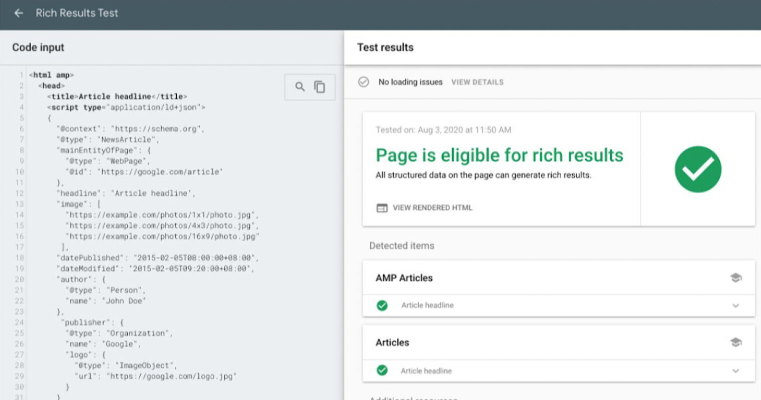 Google's Rich Results Test Tool Supports 'Article' Markup