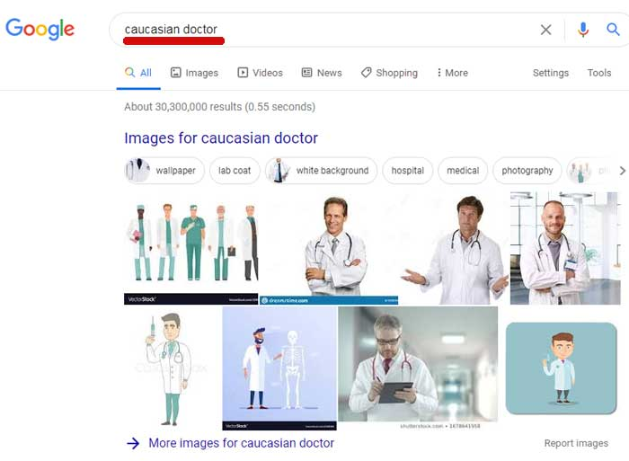 Screenshot of Google search results for Caucasian Doctor