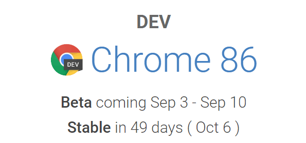 Screenshot of Chrome 86 release schedule