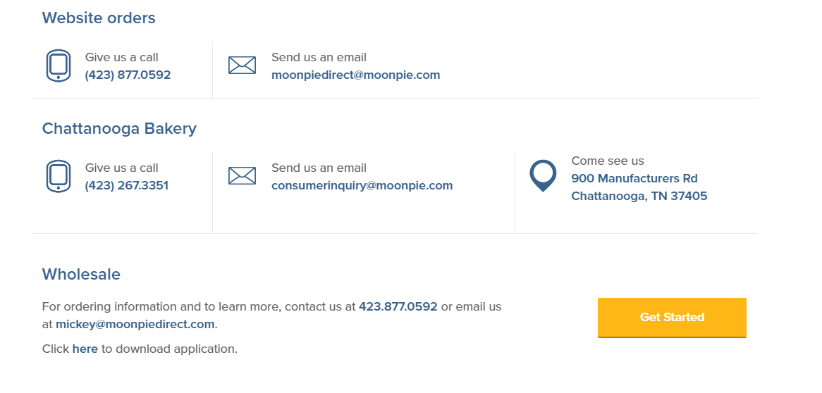 contact us page moon pie