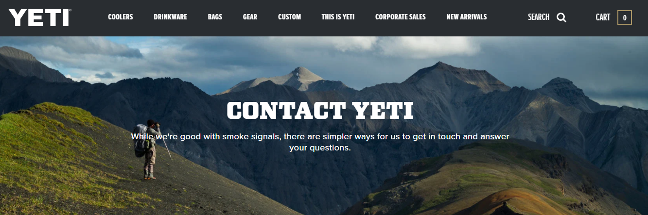 contact us page yeti
