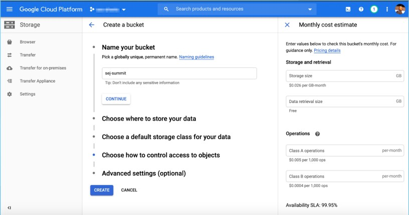 Create a Google Cloud Storage Bucket