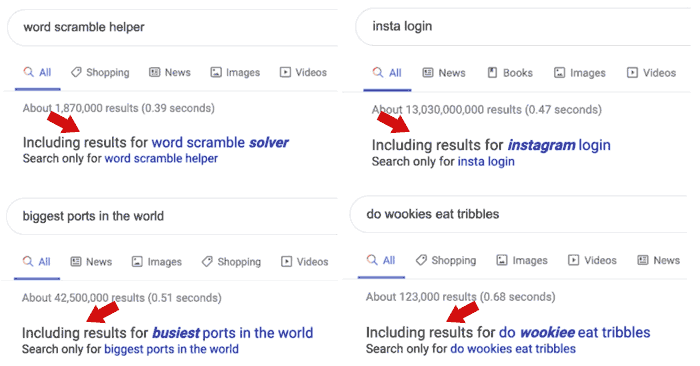 Screenshot of examples of query expansion in Google search