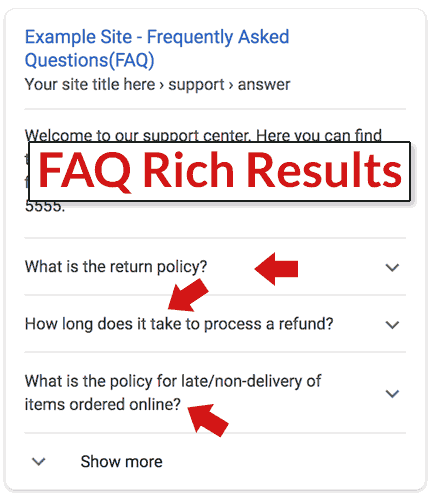 Screenshot of an example of a Google FAQ rich result