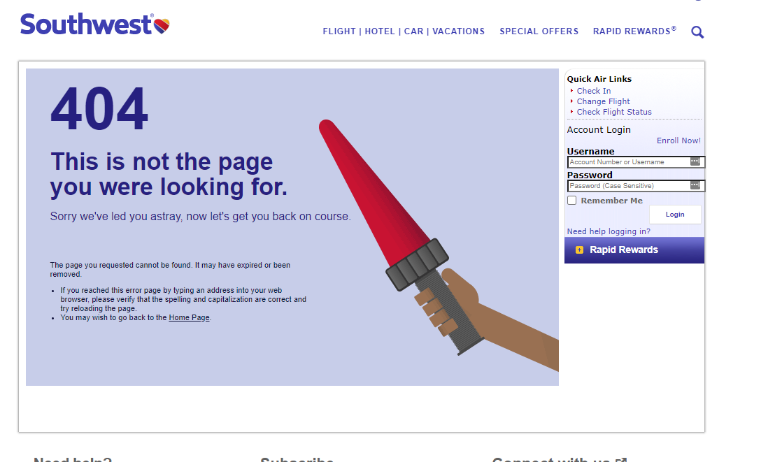 404 page southwest
