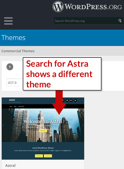 Screenshot of WordPress theme repository