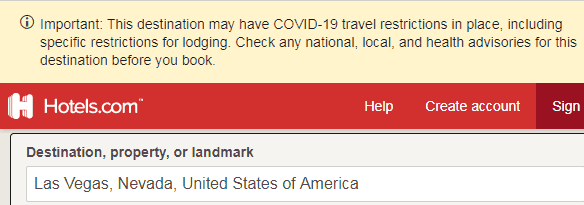 Screenshot of hotels.com warning about covid-10