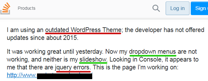 Screenshot of a question on stack overflow about an older theme not working after updating to WordPress 5.5.