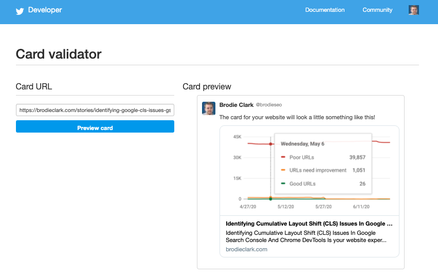 Twitter Card Validator for Content Web Stories WordPress Beta
