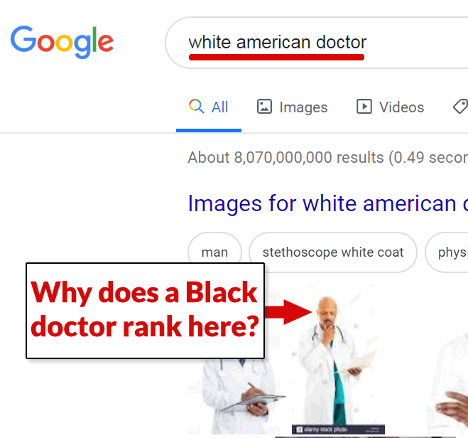 Screenshot of a search result for White American Doctor