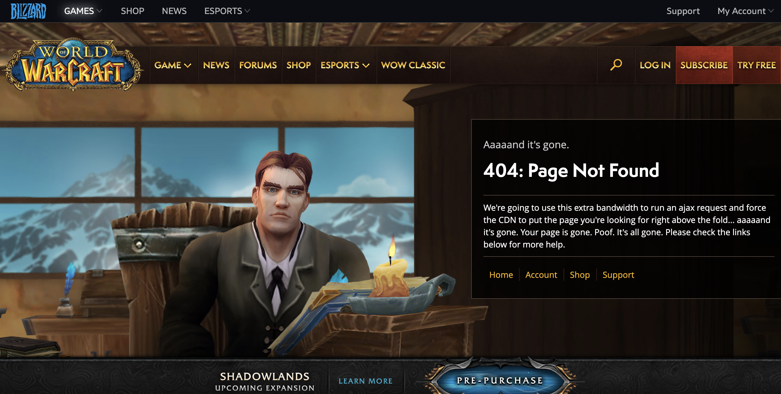 world of warcraft 404 page