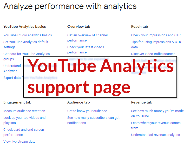 Screenshot of YouTube analytics support page