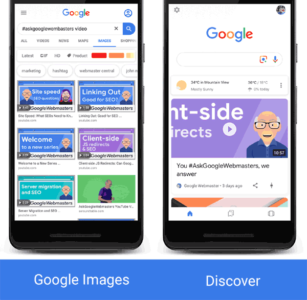 Screenshot of video rich results in Google Images and Google Discover