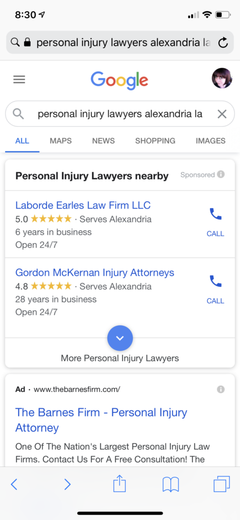 Example of local service ads using google screened