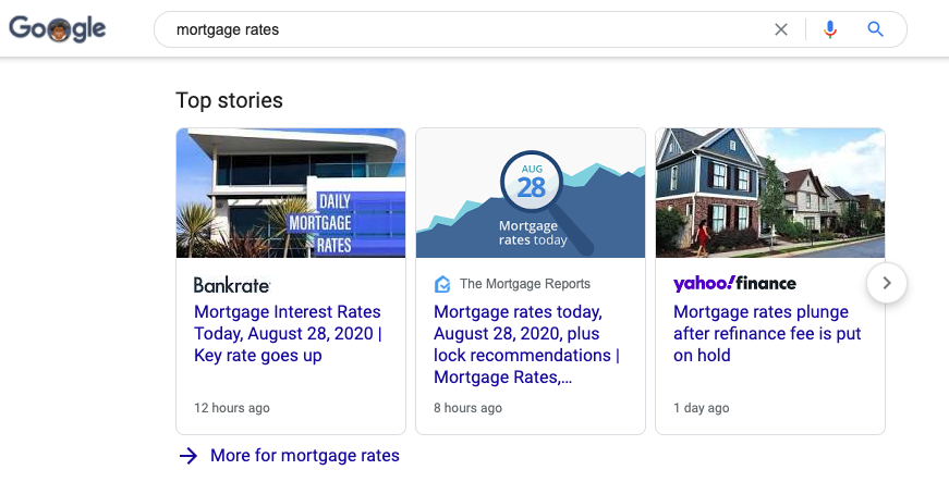 Google News appears high in SERPs.