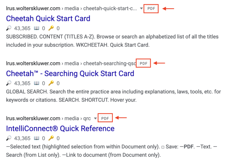 PDF in Search Results
