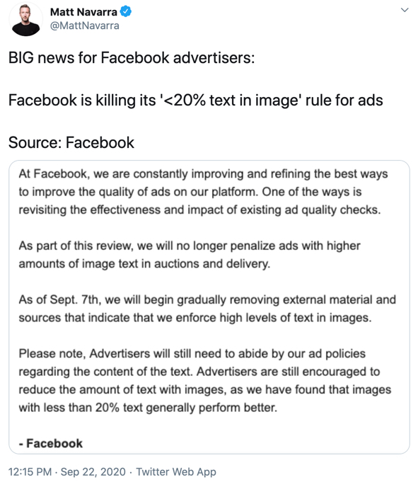 Facebook Removes the 20% Text Limit on Ad Images