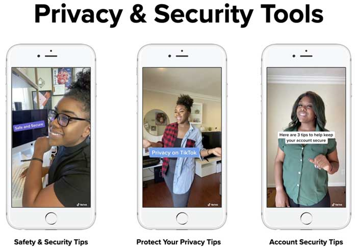 Screenshot of TikTok privacy and security tools