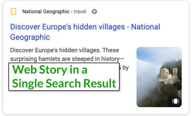 Screenshot of a single web story in a search result