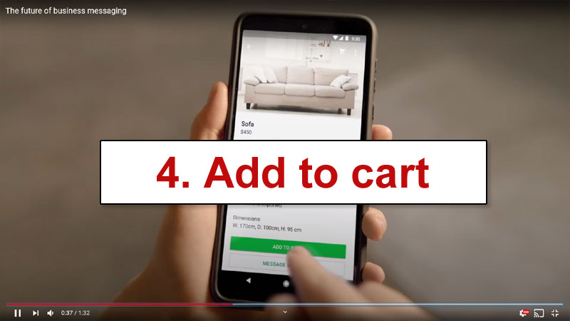 Consumer adding a product to a WhatsApp shopping cart
