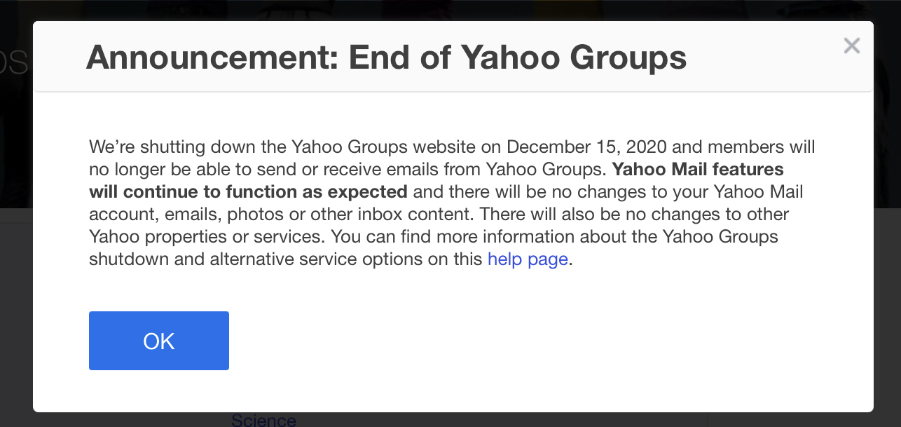 Yahoo Groups shut down announcement.
