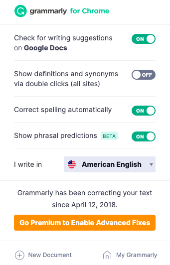 Grammarly Chrome plugin