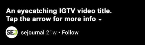 IGTV title with call to action