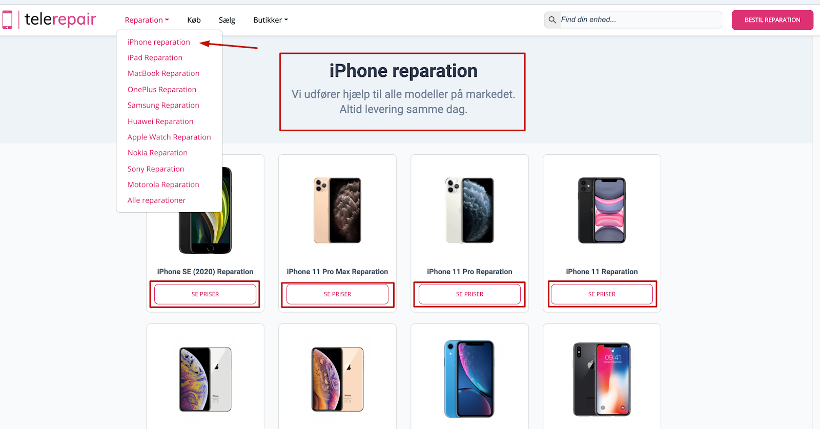 iphone reparation category page content
