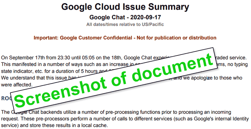 Screenshot of a Google incident report