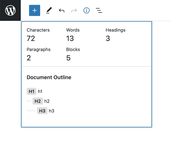 Screenshot of info panel that may be changed in a future iteration of Gutenberg