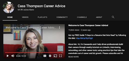 screenshot of cass thompson's youtube channel