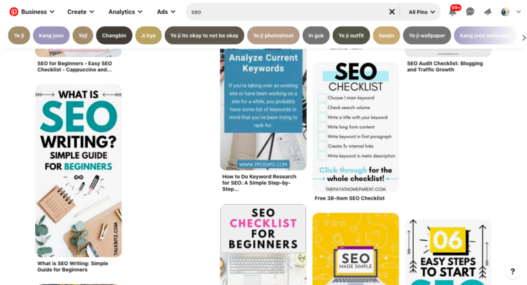 "Screenshot of Pinterest search results for ""SEO"" with optimized Pins"