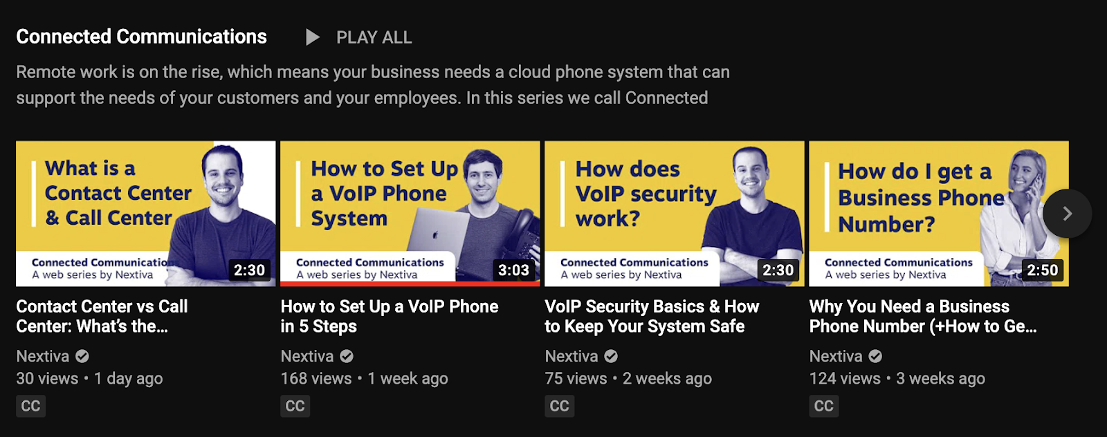 screenshot of nextiva youtube channel playlist