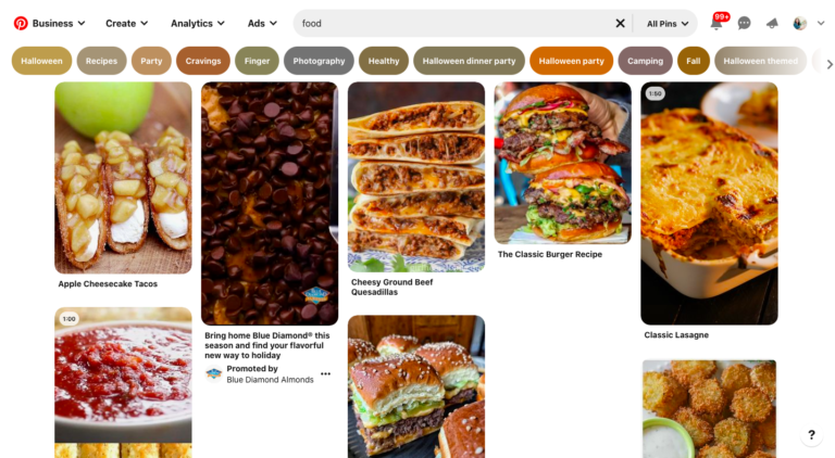 "Pinterest Explore ""food"" page"