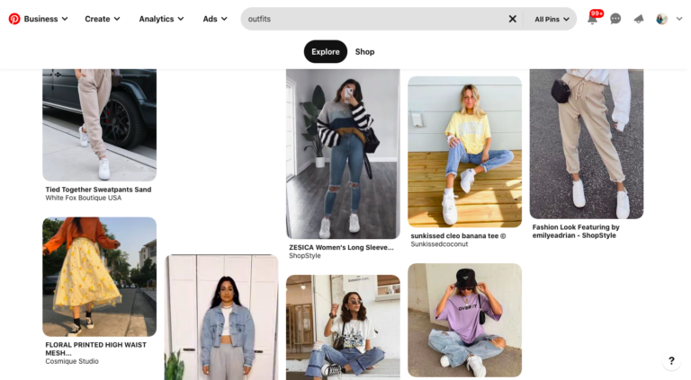 Screenshot of Pinterest image search results (clothing)