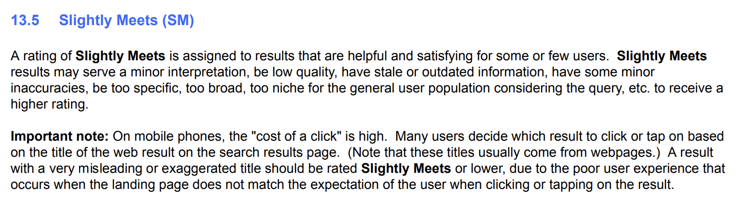 Quality Rater Guidelines UX Section 13.5