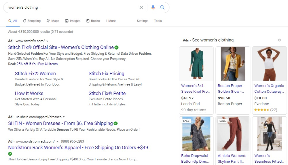 women's clothing serp ads
