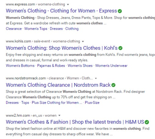 women's clothing serp organic web results