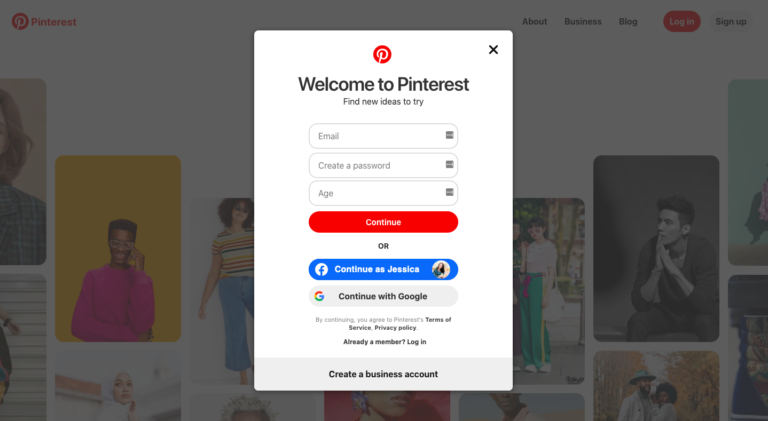 Pinterest sign up page