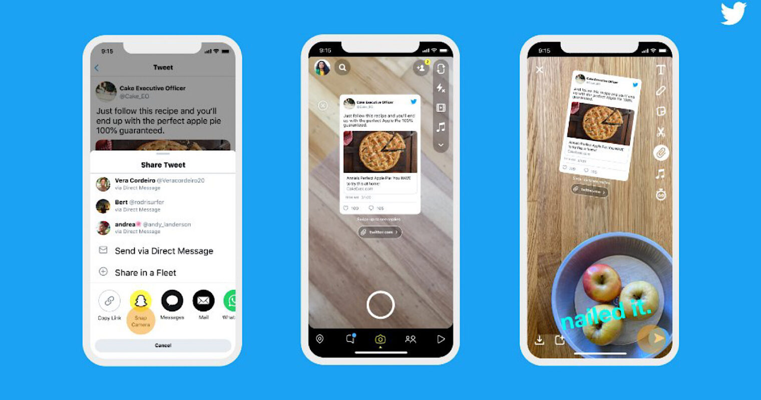 Twitter Lets Users Share Tweets to Snapchat