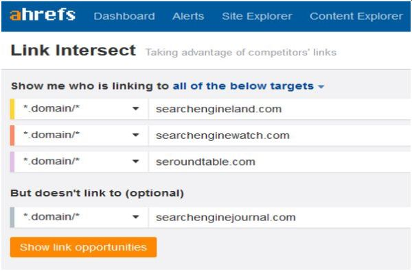 Using the Ahrefs Link Intersect tool in SEO competitor analysis.