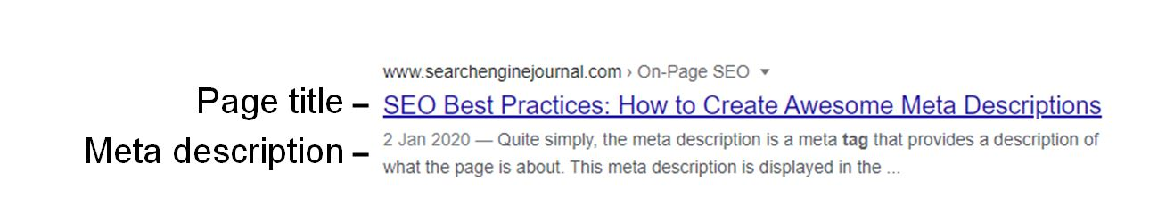 Example of meta description attribute in the SERPs