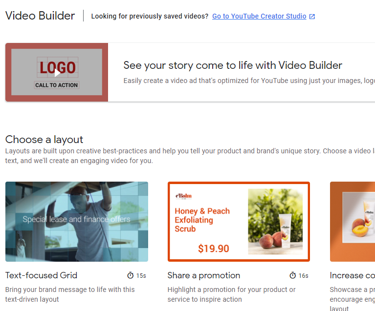 YouTube Ads video builder